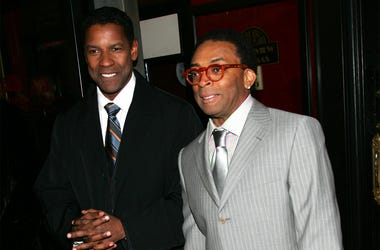 "NEW YORK - MARCH 20: Actor Denzel Washington and director Spike Lee attend Universal Pictures' premiere of ""The Inside Man"" at the Ziegfeld Theater March 20, 2006 in New York City. (Photo by Evan Agostini/Getty Images)"