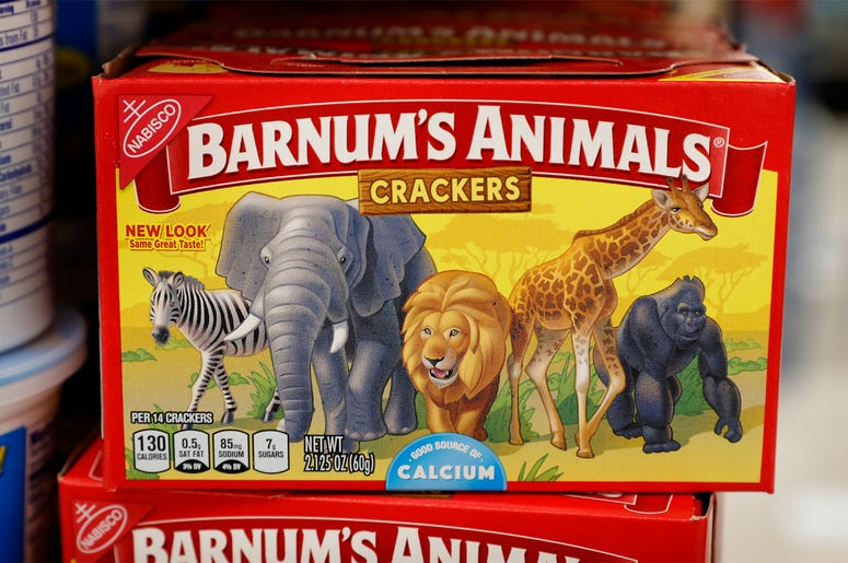 This Monday, Aug. 20, 2018, photo shows a box of Nabisco Barnum's Animals crackers on the shelf of a local grocery store in Des Moines, Iowa. Mondelez International says it has redesigned the packaging of its Barnum's Animals crackers after relenting to p