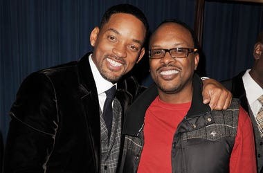 LOS ANGELES, CA - DECEMBER 16: Actor Will Smith and DJ Jeffrey Townes of DJ Jazzy Jeff and The Fresh Prince pose at the afterparty for the premiere of Columbia Pictures' 'Seven Pounds' at the Armand Hammer Museum on December 16, 2008 in Los Angeles, Calif
