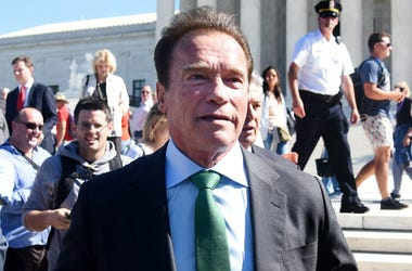 WASHINGTON, DC - OCTOBER 03: Former Gov. Arnold Schwarzenegger, R-Calif walks outside of The United States Supreme Court after an oral arguments in Gill v. Whitford to call for an end to partisan gerrymandering on October 3, 2017 in Washington, DC. (Photo