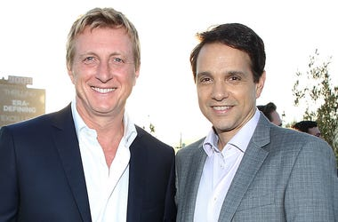 WEST HOLLYWOOD, CA - JUNE 19: (L-R) William Zabka and Ralph Macchio attend a private party celebrating hit YouTube Originals 'Cobra Kai', 'Impulse' and 'Ryan Hansen Solves Crimes On Television' at The London West Hollywood on June 19, 2018 in West Hollywo