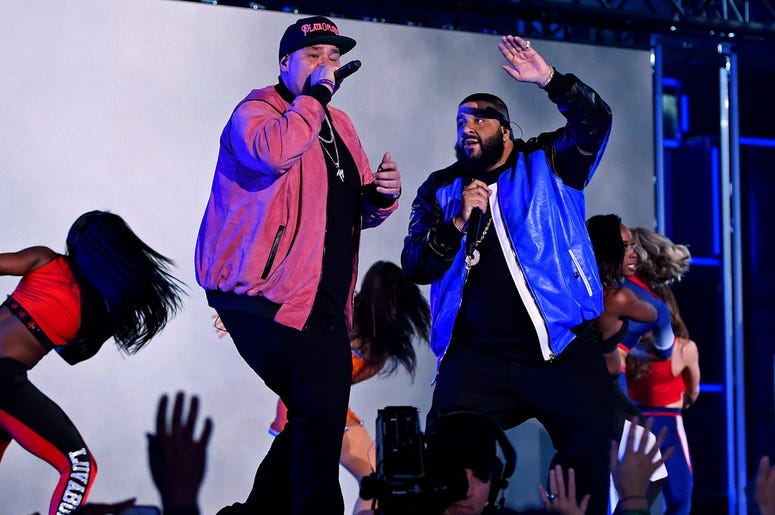 Feb 18, 2017; New Orleans, LA, USA; DJ Khaled and Fat Joe perform during NBA All-Star Saturday Night at Smoothie King Center. Mandatory Credit: Bob Donnan-USA TODAY Sports