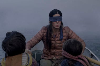 "Sandra Bullock in a scene from the film, ""Bird Box."""