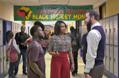 "Kevin Hart, from left, Tiffany Haddish and Taran Killam in a scene from the film, ""Night School."""