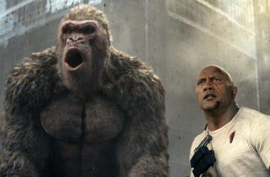 """Dwayne Johnson in a scene from """"Rampage."""""""