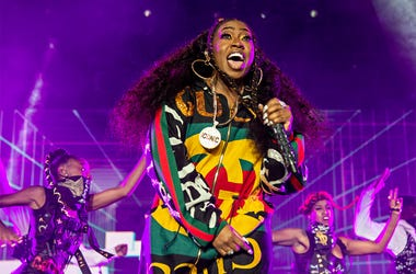 """In this July 7, 2018 file photo, Missy Elliott performs at the 2018 Essence Festival in New Orleans. A Rhode Island woman's karaoke version of Missy Elliott's hit song """"Work It"""" has become an internet sensation, even drawing praise from Elliott herself. M"""