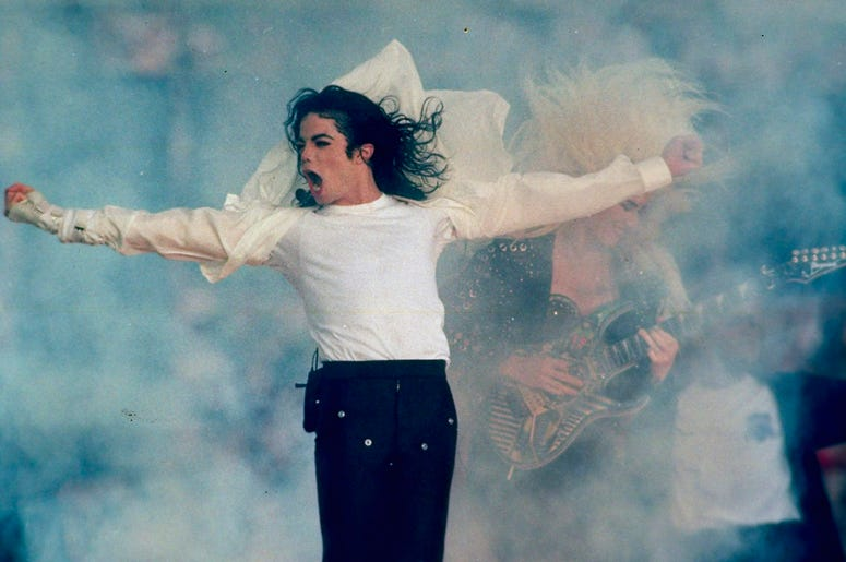 "In this Jan. 31, 1993, file photo, Michael Jackson performs during the halftime show at the Super Bowl XXVII in Pasadena, Calif. Jackson's estate and IMAX are partnering to digitally remaster ""Michael Jackson's Thriller 3D"" into IMAX 3D. The partnership w"