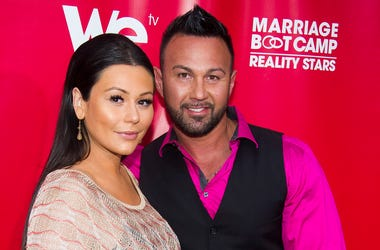 """In this May 29, 2014 file photo, Jenni """"JWoww"""" Farley and Roger Mathews attend WE tv's """"Marriage Boot Camp: Reality Stars"""" party in New York. Farley of the hit reality television show """"Jersey Shore"""" has filed for divorce from her husband of less than thre"""