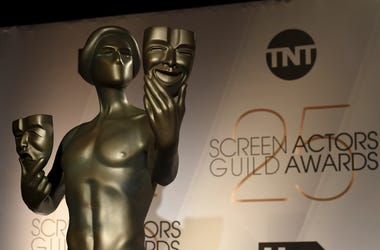 A Screen Actors Guild statue appears on stage at the nominations announcement for the 25th annual Screen Actors Guild Awards at the Pacific Design Center on Wednesday, Dec. 12, 2018, in West Hollywood, Calif. The show will be held on Sunday, Jan. 27, 2019