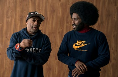 "This image released by Focus features shows director Spike Lee, left, and actor John David Washington on the set of ""BlacKkKlansma."" Lee was nominated for an Oscar award for best director for his film, ""BlacKkKlansman."" The film was also nominated for bes"