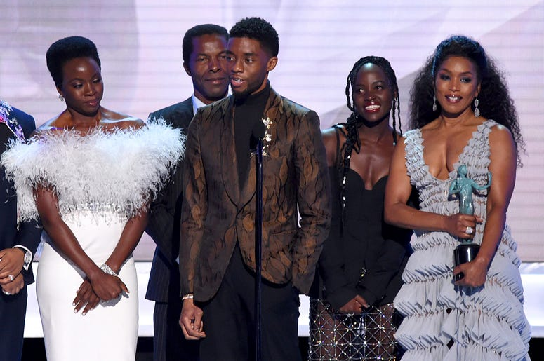 """Danai Gurira, from left, Isaach de Bankole, Chadwick Boseman, Lupita Nyong'o and Angela Bassett from the cast of """"Black Panther,"""" accept the award for outstanding performance by a cast in a motion picture at the 25th annual Screen Actors Guild Awards at t"""