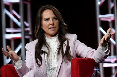 "Kate del Castillo speaks in Telemundo's ""La Reina Del Sur"" panel during the NBCUniversal TCA Winter Press Tour on Tuesday, Jan. 29, 2019, in Pasadena, Calif. (Photo by Richard Shotwell/Invision/AP)"