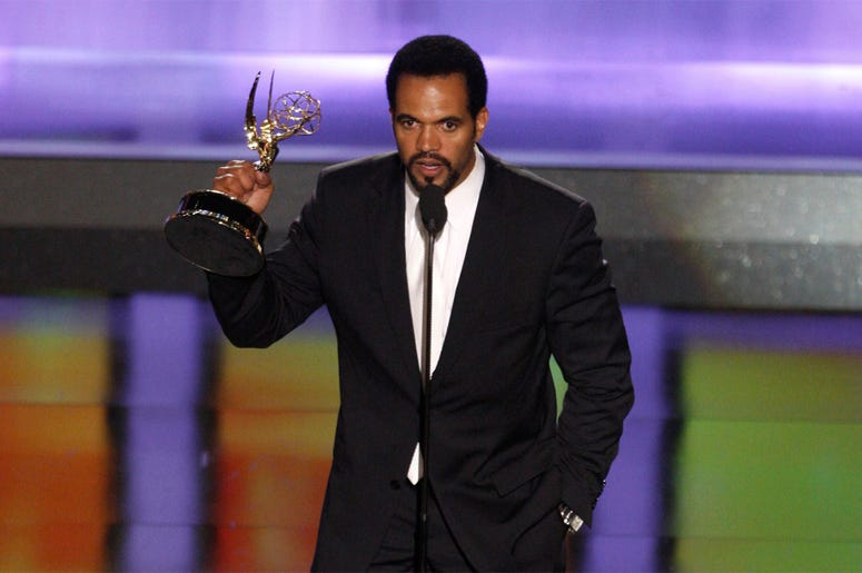"In this June 20, 2008, file photo Kristoff St. John accepts the award for outstanding supporting actor in a drama series for his work on ""The Young and the Restless"" at the 35th Annual Daytime Emmy Awards in Los Angeles. The ""Young and the Restless"" is re"