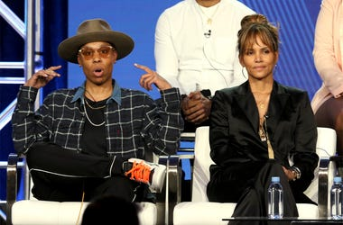 "Lena Waithe, left, and Halle Berry participate in the ""Boomerang"" panel during the BET presentation at the Television Critics Association Winter Press Tour at The Langham Huntington on Monday, Feb. 11, 2019, in Pasadena, Calif. (Photo by Willy Sanjuan/Inv"