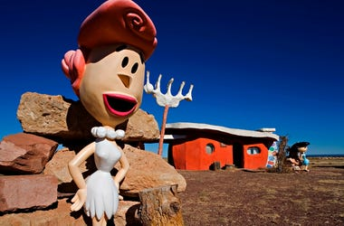 """In this Nov. 11, 2008, file photo, provided by Richard Maack, a Wilma Flintstone figure is seen at the Flintstones Bedrock City theme park near Williams, Ariz. The theme park near the Grand Canyon designed around the """"Flintstones"""" cartoon will now be stri"""