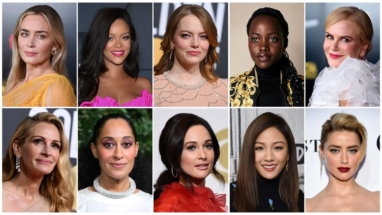 This combination of photos shows entertainers, from top left, Emily Blunt, Rihanna, Emma Stone, Lupita Nyong'o, Nicole Kidman, and bottom from left, Julia Roberts Tracee Ellis Ross, Kacey Musgraves, Constance Wu and Amber Heard, who were named Hollywood's