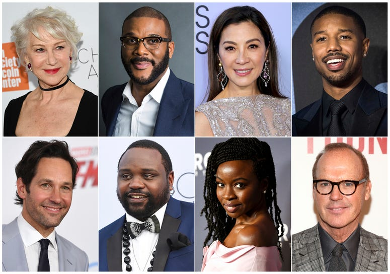 This combination photo shows, top row from left, Helen Mirren, Tyler Perry, Michelle Yeoh, Michael B. Jordan and bottom row from left, Paul Rudd, Brian Tyree Henry, Danai Gurira and Michael Keaton, who will serve as presenters at the 91st Annual Academy A