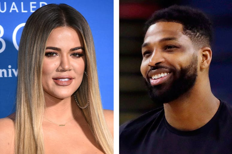 This combination photo shows TV personality Khloe Kardashian at the NBCUniversal Network 2017 Upfront in New York on May 15, 2017, left, and Cleveland Cavaliers' Tristan Thompson during an NBA basketball practice in Oakland, Calif., on May 30, 2018. Karda