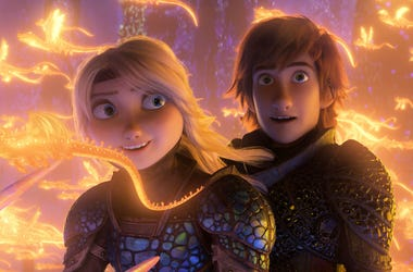 "This image released by Universal Pictures shows characters Astrid, voiced by America Ferrera, left, and Hiccup, voiced by Jay Baruchel, in a scene from DreamWorks Animation's ""How to Train Your Dragon: The Hidden World."" (DreamWorks Animation/Universal Pi"