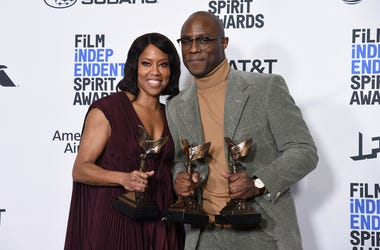"Regina King, winner of the award for best supporting female, left, and Barry Jenkins, winner of best director and best feature, all for ""If Beale Street Could Talk,"" pose in the press room at the 34th Film Independent Spirit Awards on Saturday, Feb. 23, 2"