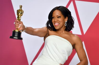 "Regina King poses with the award for best performance by an actress in a supporting role for ""If Beale Street Could Talk"" in the press room at the Oscars on Sunday, Feb. 24, 2019, at the Dolby Theatre in Los Angeles. (Photo by Jordan Strauss/Invision/AP)"