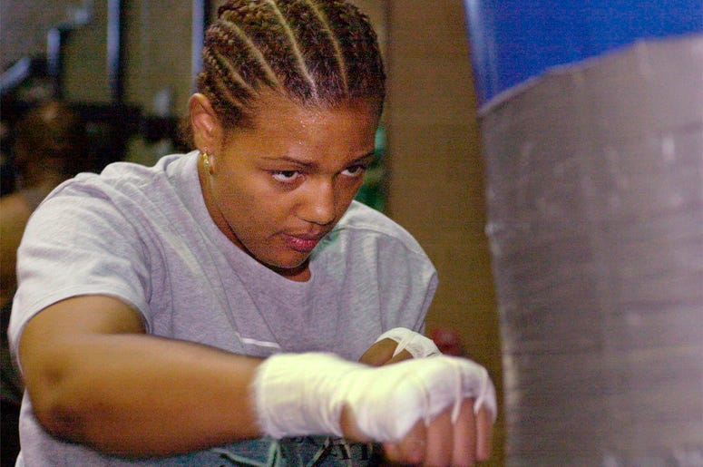 In this June 16, 2000, file photo, Freeda Foreman works out in a gym in Las Vegas. (AP Photo/Laura Rauch, File)
