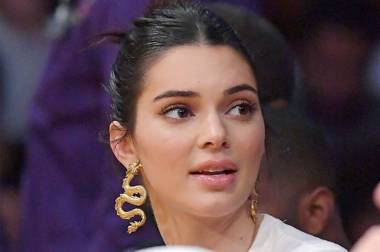 In this Jan. 29, 2019 file photo, Kendall Jenner watches an NBA basketball game between the Los Angeles Lakers and the Philadelphia 76ers in Los Angeles. U.S. (AP Photo/Mark J. Terrill, File)