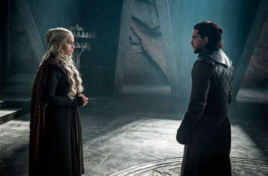 "This photo provided by HBO shows Emilia Clarke as Daenerys Targaryen and Kit Harington as Jon Snow in a scene from HBO's ""Game of Thrones."" The final season premiered on Sunday. (Helen Sloan/Courtesy of HBO via AP)"