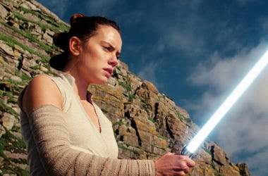 "This image released by Lucasfilm shows Daisy Ridley as Rey in ""Star Wars: The Last Jedi."" (Lucasfilm via AP)"