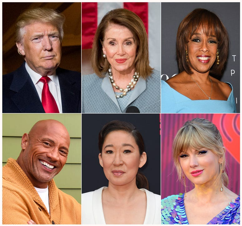 This combination photo shows President Donald Trump, top row from left, House Speaker Nancy Pelosi, CBS News' Gayle King, bottom row from left, actor-producer Dwayne Johnson, actress Sandra Oh and singer Taylor Swift are among the people honored in Time's