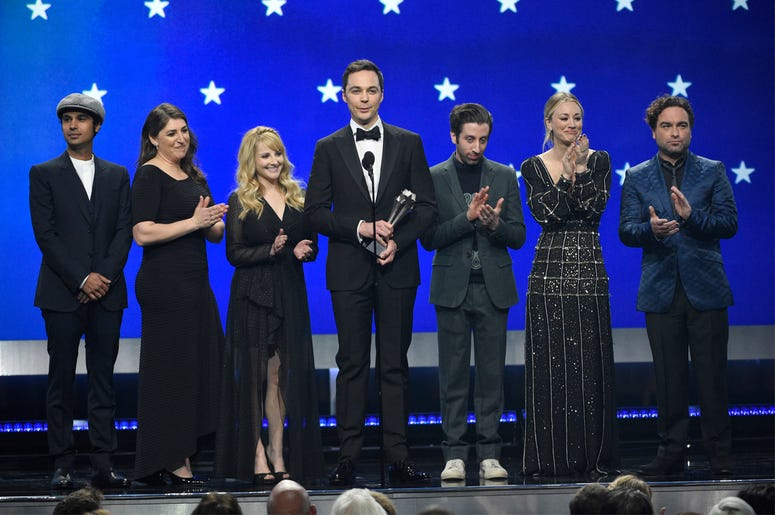 """In this Jan. 13, 2019, file photo, Kunal Nayyar, from left, Mayim Bialik, Melissa Rauch, Jim Parsons, Simon Helberg, Kaley Cuoco and Johnny Galecki, from the cast of """"The Big Bang Theory,"""" present the creative achievement award at the 24th annual Critics'"""