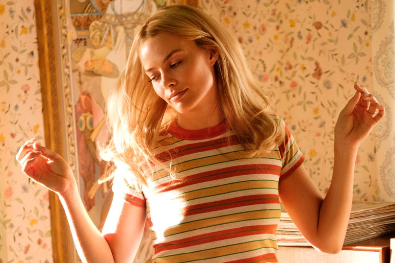 """This image released by Sony Pictures shows Margot Robbie in Quentin Tarantino's """"Once Upon a Time in Hollywood."""" (Andrew Cooper/Sony-Columbia Pictures via AP)"""