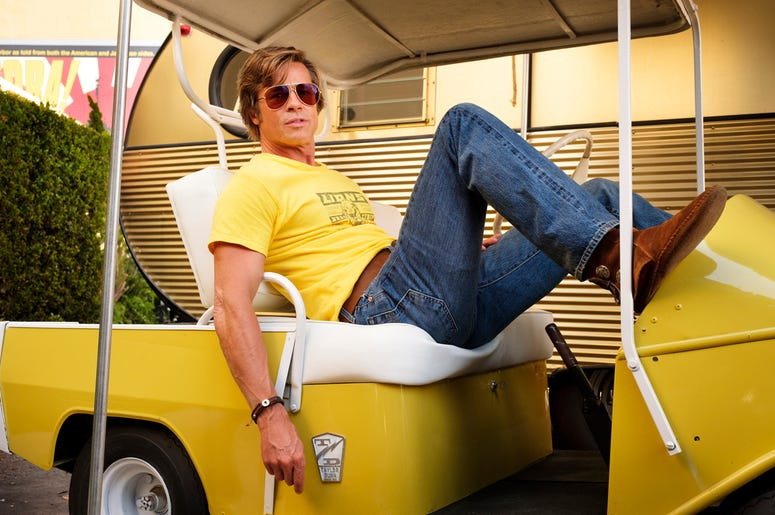"""This image released by Sony Pictures shows Brad Pitt in Quentin Tarantino's """"Once Upon a Time in Hollywood."""" (Andrew Cooper/Sony-Columbia Pictures via AP)"""