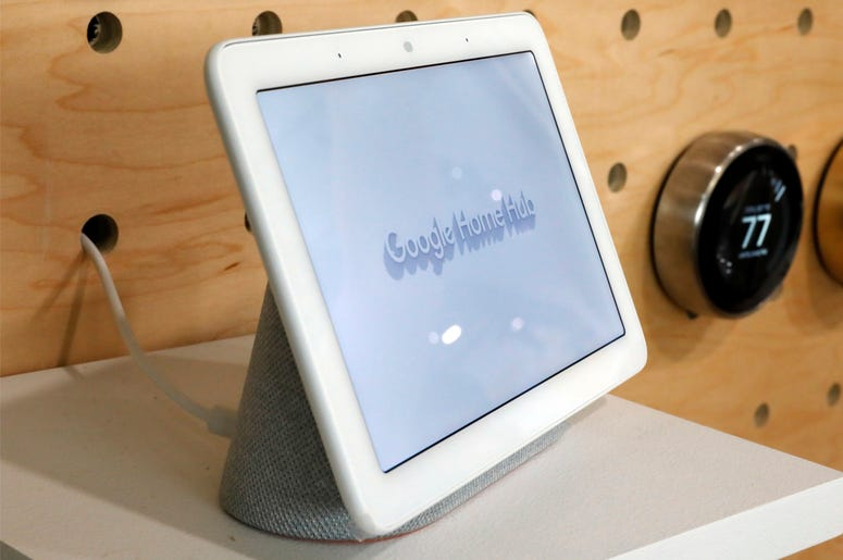In this Oct. 9, 2018, file photo a Google Home Hub is displayed in New York. (AP Photo/Richard Drew, File)
