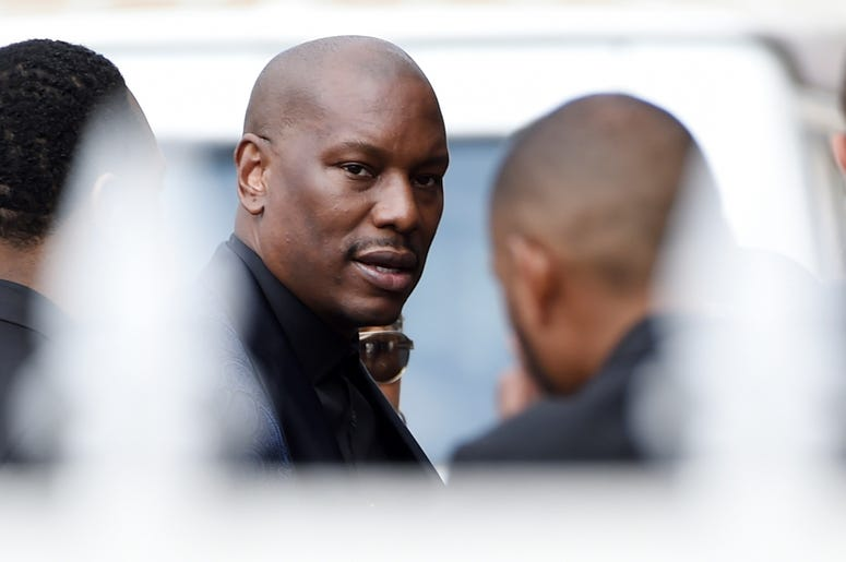 "Tyrese, who was a cast member in director John Singleton's 2001 film ""Baby Boy,"" arrives at a memorial service for Singleton at Angelus Funeral Home, Monday, May 6, 2019, in Los Angeles. Singleton died on April 29 following a stroke. (AP Photo/Chris Pizze"