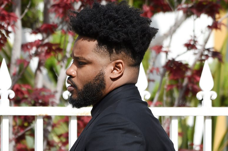 Director Ryan Coogler arrives at a memorial service for the late film director John Singleton at Angelus Funeral Home, Monday, May 6, 2019, in Los Angeles. Singleton died on April 29 following a stroke. (AP Photo/Chris Pizzello)