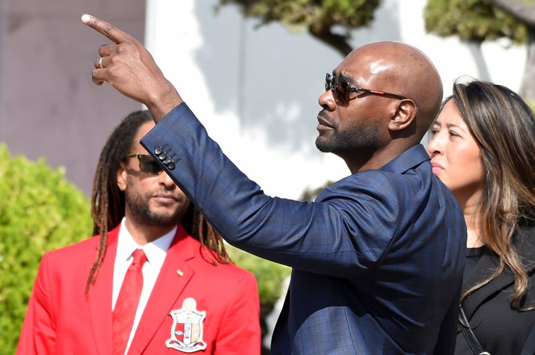 "Actor Morris Chestnut, a cast member in director John Singleton's 1991 debut film ""Boyz n the Hood,"" arrives at a memorial service for Singleton at Angelus Funeral Home, Monday, May 6, 2019, in Los Angeles. Singleton died on April 29 following a stroke. ("
