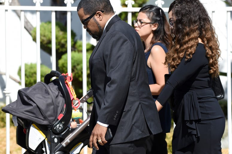 "Actor/rapper Ice Cube, a cast member in director John Singleton's 1991 debut film ""Boyz n the Hood,"" arrives at a memorial service for Singleton at Angelus Funeral Home, Monday, May 6, 2019, in Los Angeles. Singleton died on April 29 following a stroke. ("