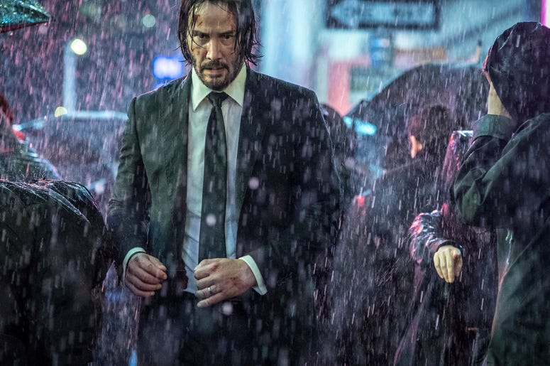 """This image released by Lionsgate shows Keanu Reeves in a scene from """"John Wick: Chapter 3 - Parabellum."""" (Niko Tavernise/Lionsgate via AP)"""