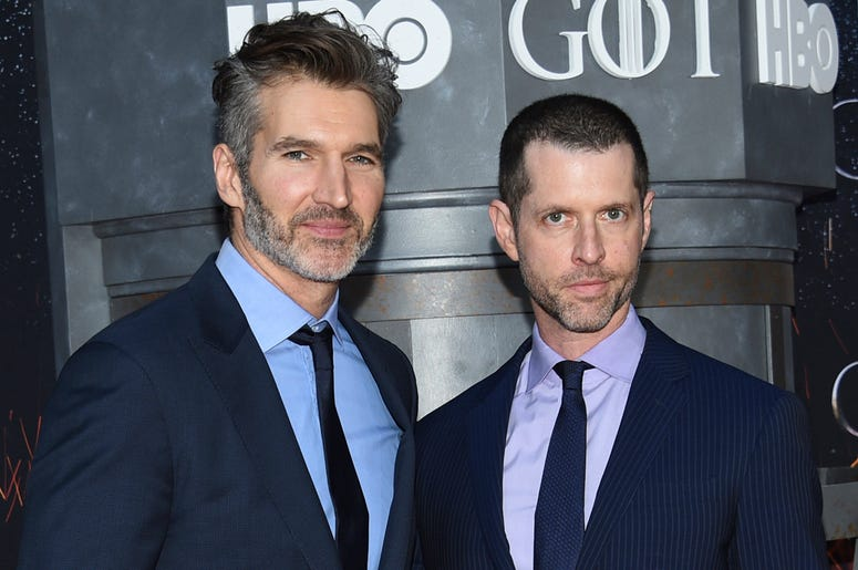 "In this Wednesday, April 3, 2019, file photo, creator/executive producers David Benioff, left, and D. B. Weiss attend HBO's ""Game of Thrones"" final season premiere at Radio City Music Hall in New York. (Photo by Evan Agostini/Invision/AP, File)"