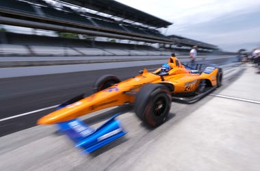 Fernando Alonso, of Spain, drives out of the pit area during practice for the Indianapolis 500 IndyCar auto race at Indianapolis Motor Speedway, Friday, May 17, 2019 in Indianapolis. (AP Photo/AJ Mast)