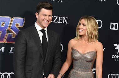 """In this April 22, 2019, file photo, Colin Jost, left, and Scarlett Johansson arrive at the premiere of """"Avengers: Endgame"""" at the Los Angeles Convention Center. (Photo by Jordan Strauss/Invision/AP, File)"""