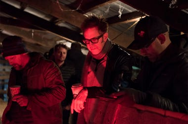 "This image released by Sony Pictures shows producer James Gunn on the set of ""Brightburn."" (Boris Martin/Sony Pictures via AP)"