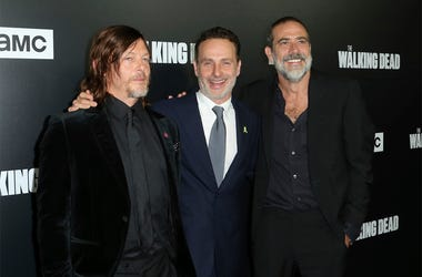 "In this Sept. 27, 2018 file photo, from left to right, Norman Reedus, Andrew Lincoln and Jeffrey Dean Morgan arrive at the LA Premiere of Season 9 of their show ""The Walking Dead"" in Los Angeles. (Willy Sanjuan/Invision/AP, File)"