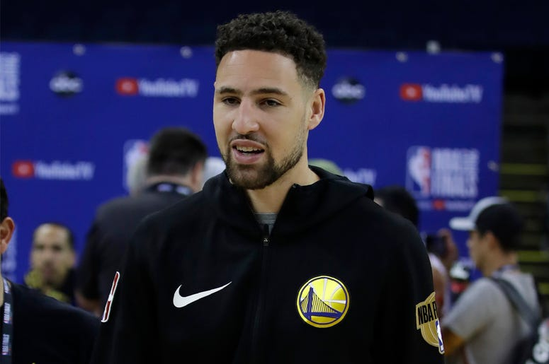 Golden State Warriors' Klay Thompson walks off the court after practice for the NBA Finals against the Toronto Raptors Thursday, June 6, 2019, in Oakland, California. (AP Photo/Ben Margot)