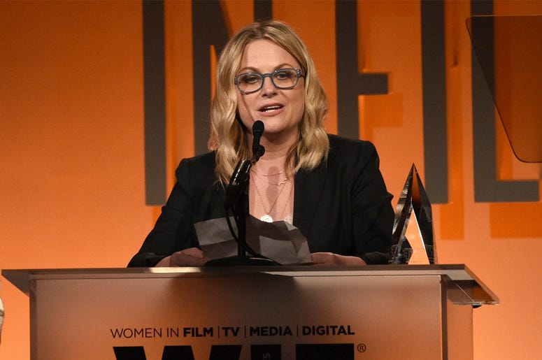 Amy Poehler accepts the entrepreneur in entertainment award at the Women in Film Annual Gala on Wednesday, June 12, 2019, at the Beverly Hilton Hotel in Beverly Hills, Calif. (Photo by Chris Pizzello/Invision/AP)