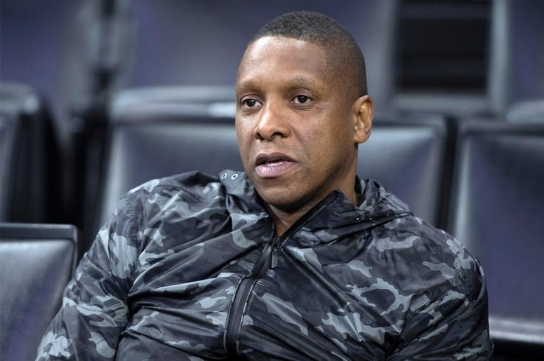 In this June 4, 2019, file photo, Toronto Raptors general manager Masai Ujiri watches during practice for the NBA Finals against the Golden State Warriors in Oakland, California. (Frank Gunn/The Canadian Press via AP, File)
