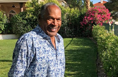 This Monday, June 3, 2019 photo provided by Didier J. Fabien shows O.J. Simpson in the garden of his Las Vegas area home. (Didier J. Fabien via AP, File)