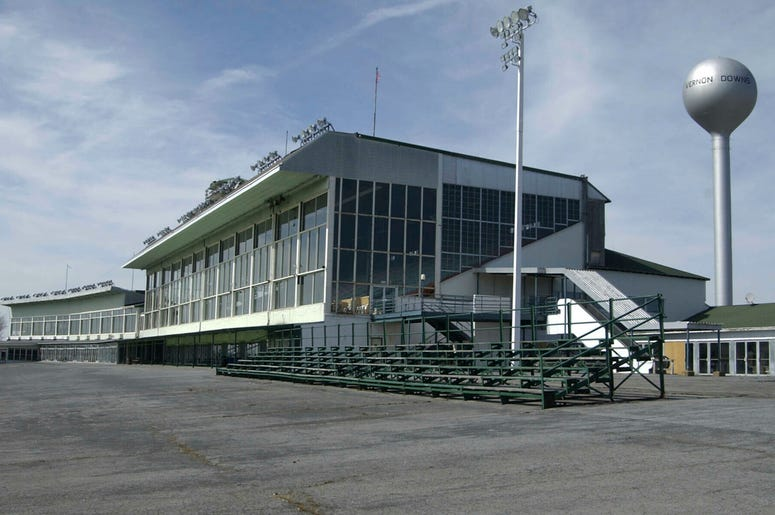 This March 30, 2004 file photo, shows the grand stands at Vernon Downs in Verona, N.Y. A smaller Woodstock 50 festival could possibly be held at the upstate New York harness track and casino. (AP Photo/Kevin Rivoli, File)