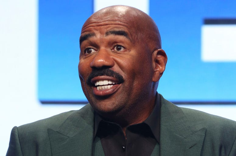 """In this Aug. 3, 2017, file photo, Steve Harvey participates in the """"Steve"""" panel during the NBC Television Critics Association Summer Press Tour in Beverly Hills, California. (Photo by Willy Sanjuan/Invision/AP, File)"""